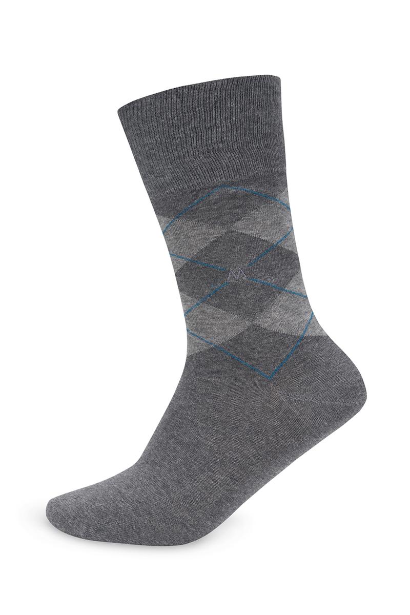 Baklava Desenli Gri Pamuk Çorap