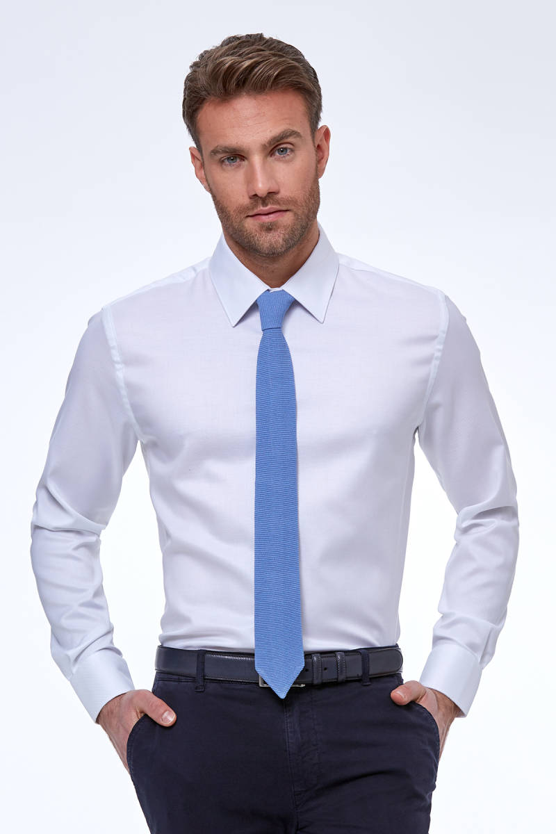 Beyaz Diyagonal Doku Non-Iron Business Gömlek