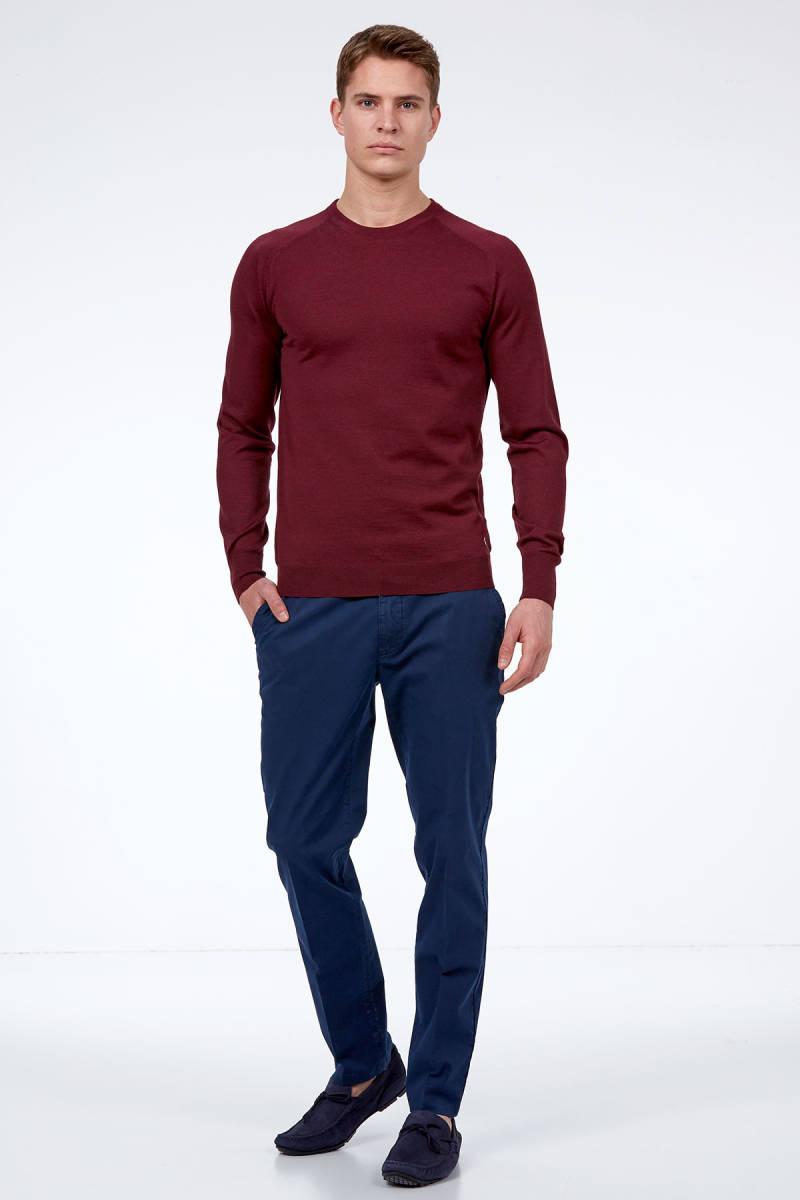 Hemington - Bordo Bisiklet Yaka Slim Fit Merino Yün Triko (1)