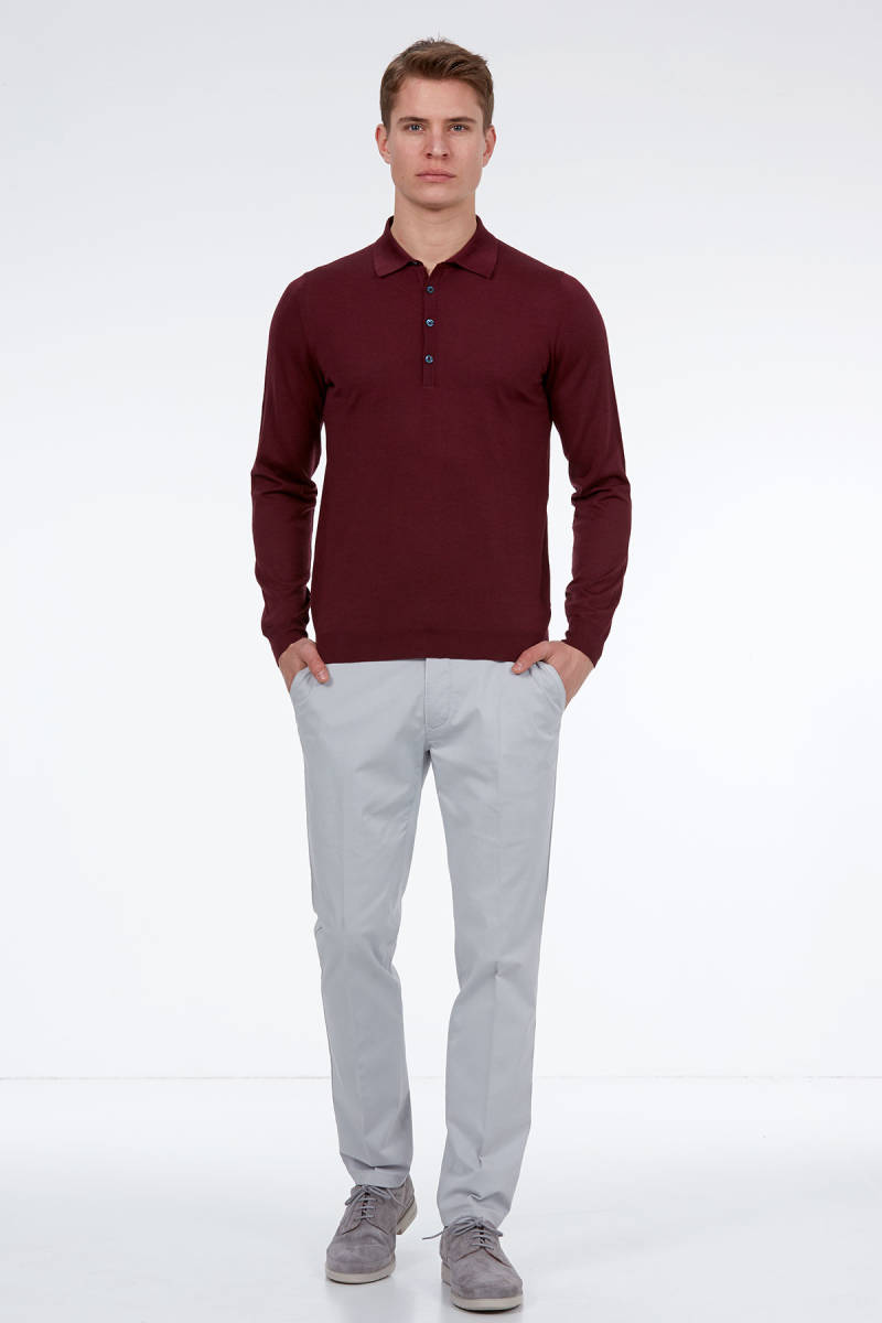 Hemington - Bordo Polo Yaka Merino Yün Triko (1)