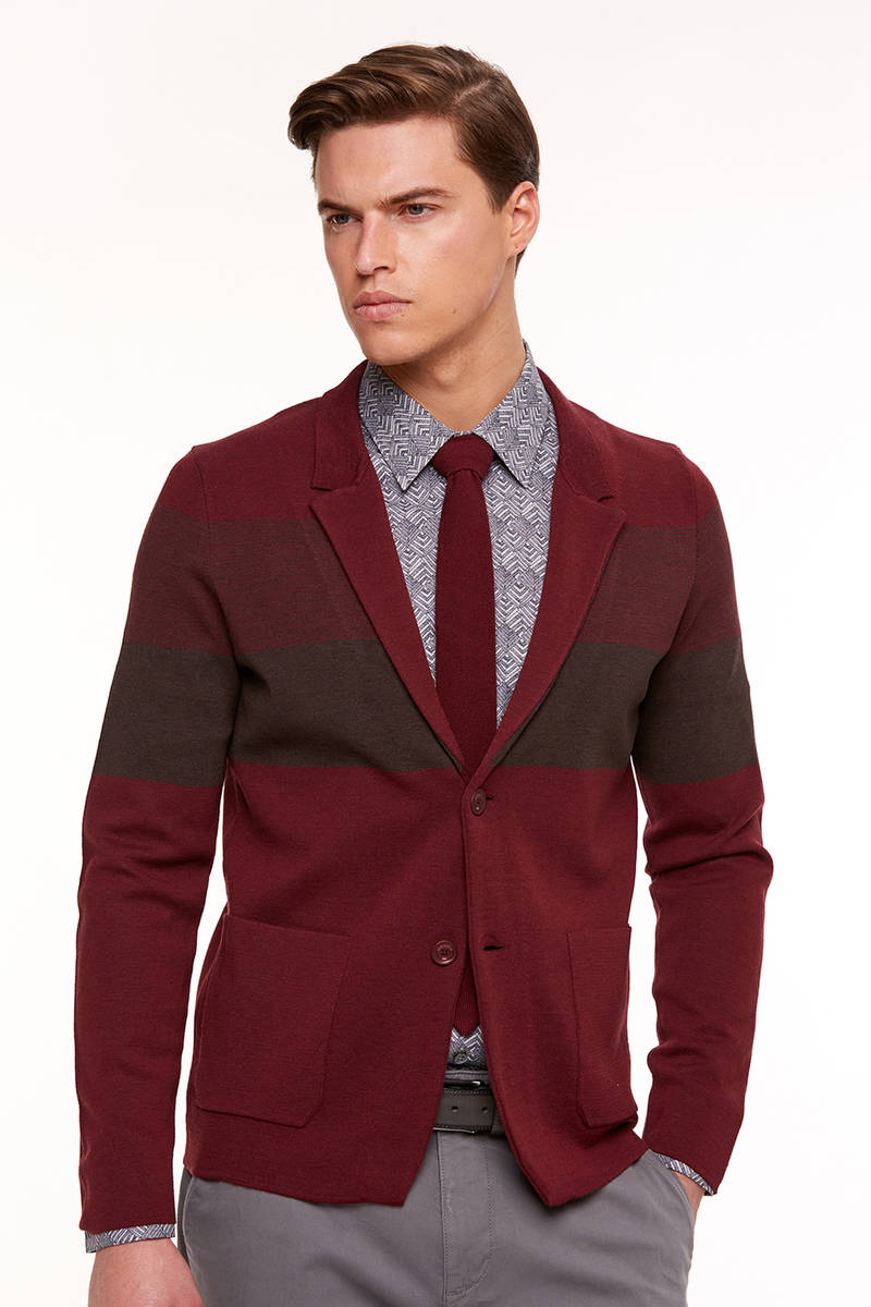 Extrafine Merino Slim Fit Bordo Triko Ceket