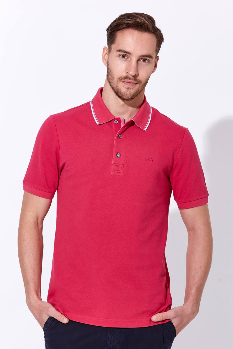 Fuşya Polo Yaka Pike T-Shirt