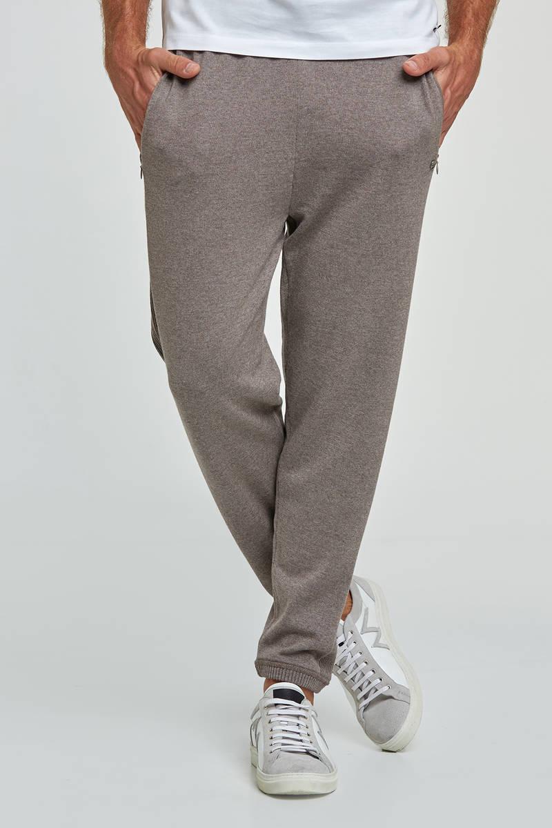 Merino Yün Kum Rengi Activewear Triko Pantolon