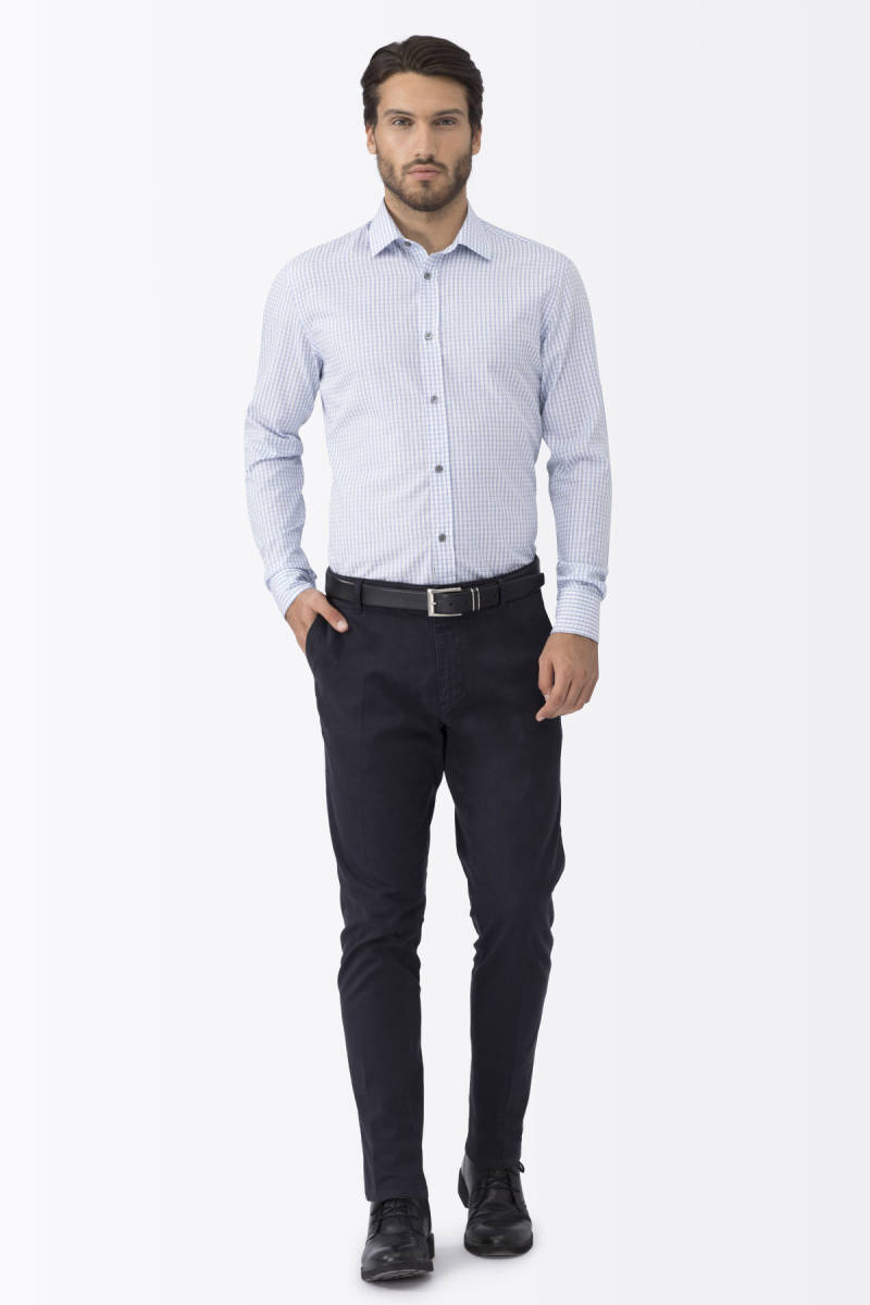 Hemington - Kareli Mavi Business Gömlek (1)