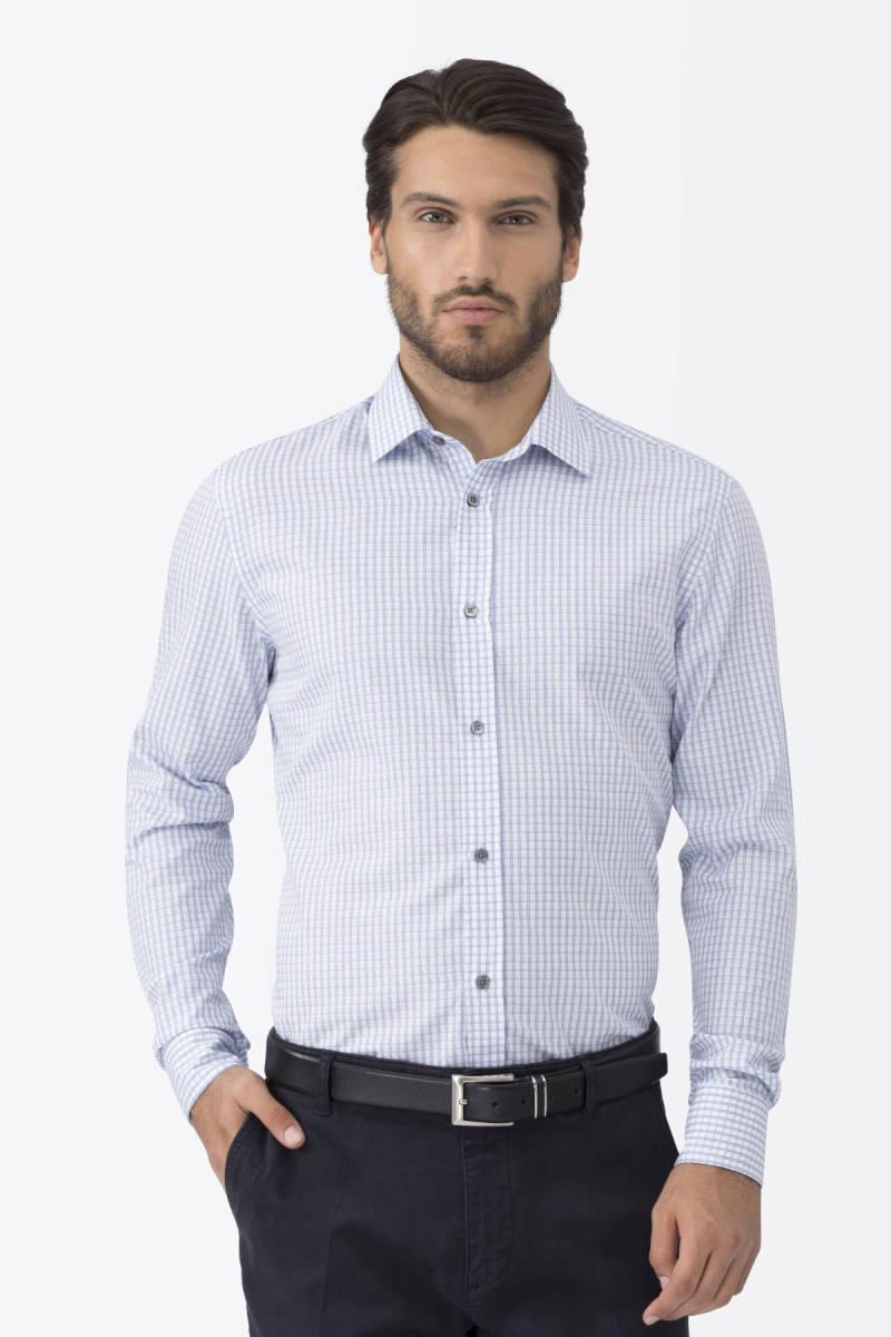 Kareli Mavi Business Gömlek