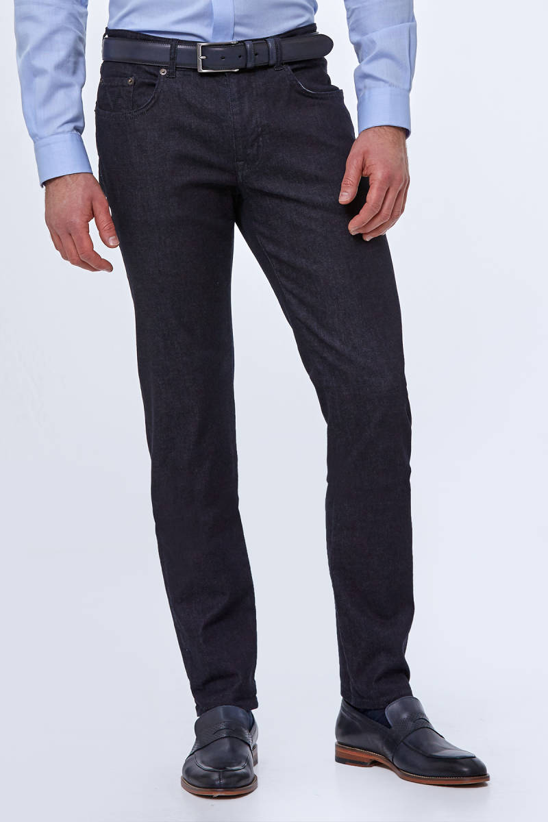 Slim Fit Koyu Renk Denim Pantolon
