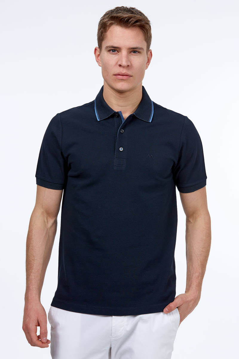 Lacivert Polo Yaka Pike T-Shirt