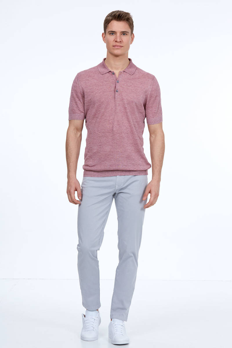Hemington - Pembe Keten Triko Polo T-Shirt (1)