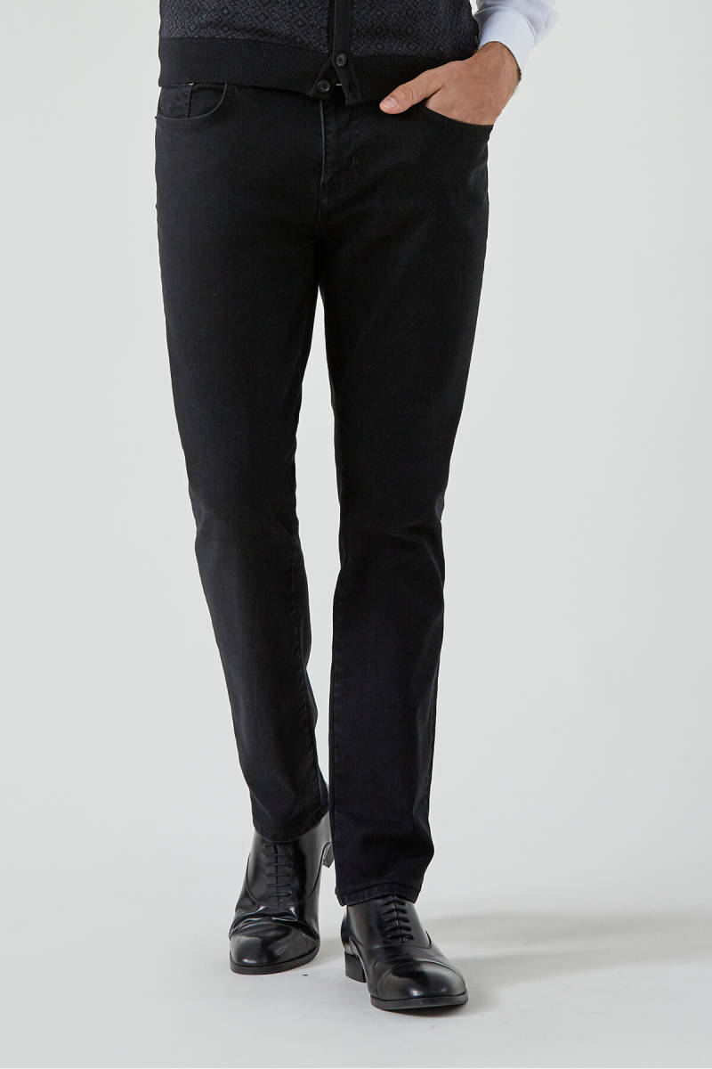Siyah Slim Fit Denim Pantolon